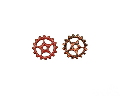 C-Koop Enameled Metal Ruby Red Small Sectioned Gear 16mm