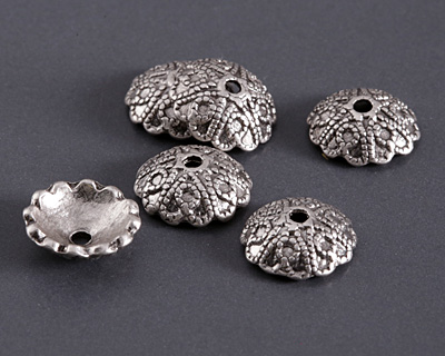 Antique Silver (plated) Beaded Hearts Bead Cap 4x12mm