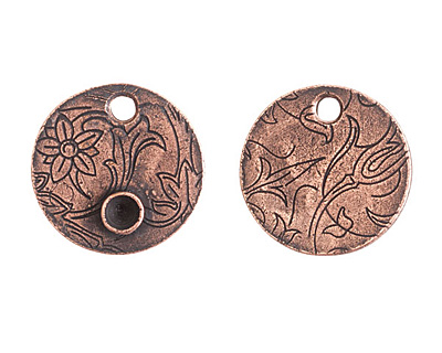 Nunn Design Antique Copper (plated) Decorative Small Circle Bezel Tag 20mm