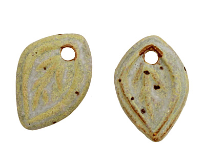 Kylie Parry Ceramic Cool Lime Tiny Autumn Leaf Charm 15x21mm