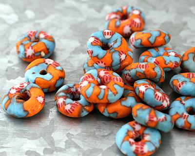 African Recycled Glass & Seed Bead Aqua w/ Orange Mini Donut 5-6x13-15mm