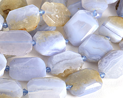 Chalcedony Faceted Flat Nugget 15-25x12-20mm