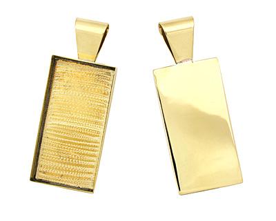 Brass Rectangle Bezel 21x43mm
