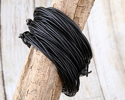 Black Round Leather Cord 2mm