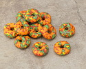 African Recycled Glass & Seed Bead Orange, Green, Yellow & Red Donut 4-6x13-15mm