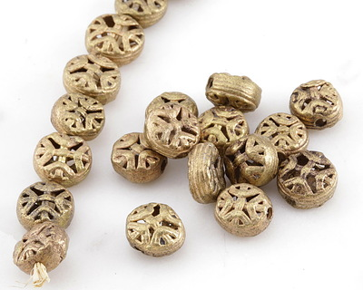 African Brass Ornate Coin 12-14mm