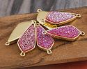 Metallic Hot Pink Crystal Druzy Teardrop Link in Gold Finish Bezel 33x14mm