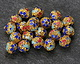 Cloisonné Blue, Aqua & Red w/ Gold Finish Floral Filigree Round Bead 8mm