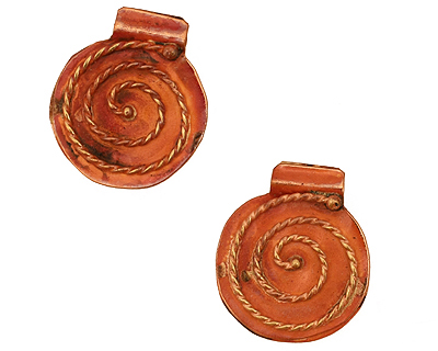 Patricia Healey Copper Round w/ Rope Spiral Pendant 20x23mm