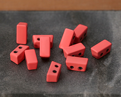 Coral Pink Enamel 2-Hole Tile Thin Rectangle Bead 4x8mm