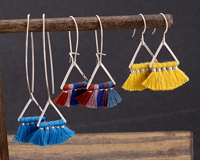 Ice Cream Social Small Fanned Tassel on Triangle Ring w/ Silver Finish 15x23mm