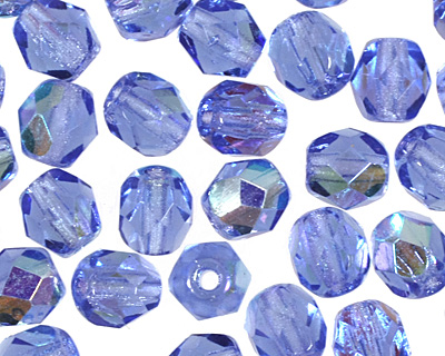 Czech Fire Polished Glass Sapphire AB Round 4mm