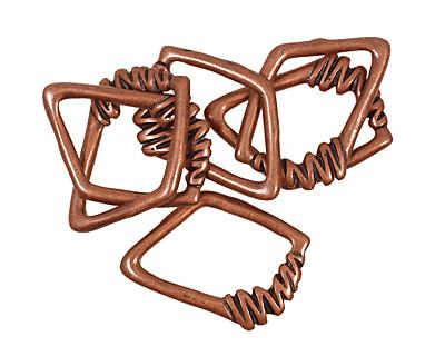Antique Copper (plated) Irregular Diamond w/ Zigzag 40x30mm
