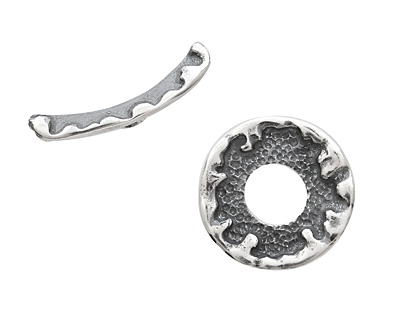 Saki Sterling Silver Molten Frame Toggle Clasp 21mm, 26mm bar