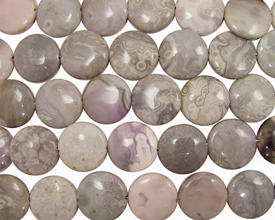 Rosy White Ocean Jasper Puff Coin 25mm