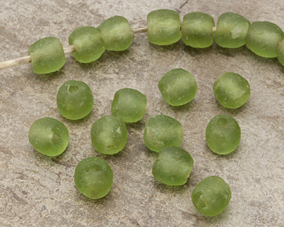 African Recycled Glass Olive Tumbled Round 8-10mm