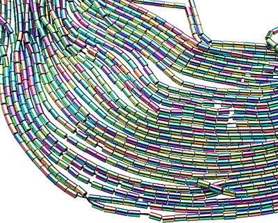 Rainbow Hematite (plated) Tube 5x3mm