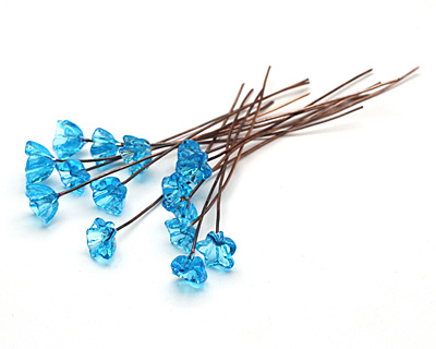 Painting with Fire Transparent Turquoise Glass Flower Headpin 9-10mm