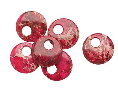 Ruby Impression Jasper Coin Pendant 30mm