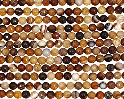 Amber Line Agate Faceted Round 6mm