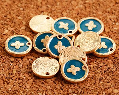 Zola Elements Peacock Enamel Matte Gold Finish Cross Coin Focal 13mm