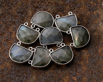 Labradorite Faceted Half Moon w/ Silver Finish Bezel Focal 17x16mm