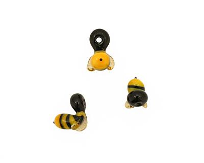 The BeadsNest Lampwork Glass Honey Bee 14-17x8-9mm