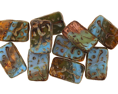 Czech Glass Nature Groovy Rectangle 18x12mm