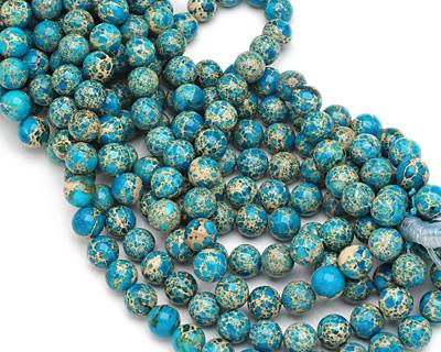 Ocean Blue Impression Jasper Round 12mm