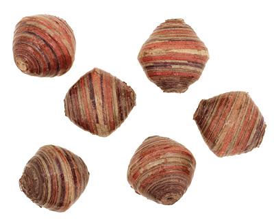 African Paper (rust, gray, purple) Bicone 24-25x26-27mm