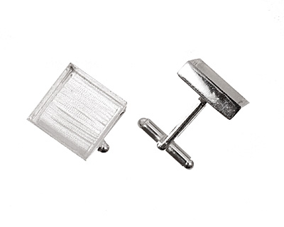 Silver (plated) Square Bezel Cuff Link 17mm