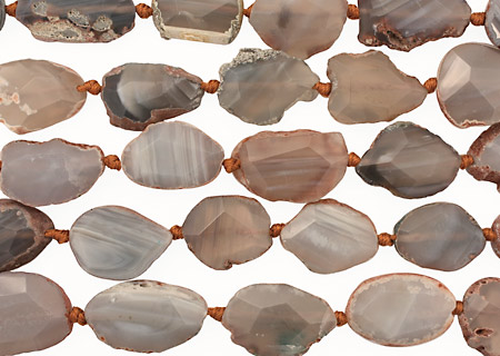 Gray Line Agate Natural Edge Freeform Faceted Slab 21-32x19-25mm