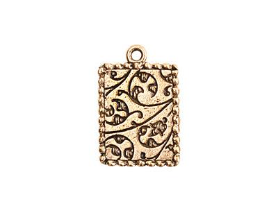 Nunn Design Antique Gold (plated) Mini Ornate Rectangle Bezel Pendant 14x21mm