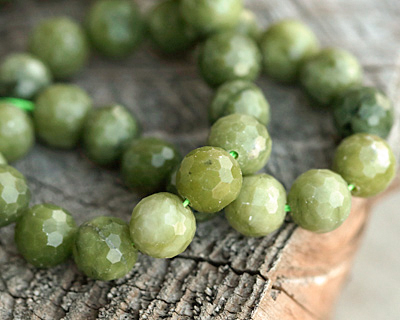 Olive Jade Faceted Round 8mm
