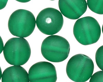 Czech Glass Matte Green Emerald Round 6mm