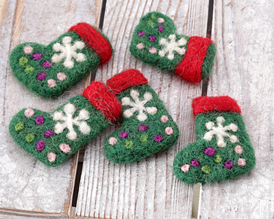 Green Felt Stocking 29x41mm