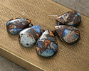 Midnight Blue Impression Jasper & Bronzite Teardrop Pendant Set 16x25-20x30mm