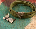 Zola Elements Antique Brass (plated) Triangle Print 5mm Flat Cord Slide 20x14mm