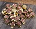 Metallic Bronze Crystal Druzy Coin Charm in Gold Finish Bezel 7x9mm