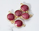Ruby (enhanced) Faceted Coin Link in Gold Vermeil 17x11mm