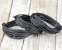 Metallic Gunmetal Round Leather Cord 2mm, 16 feet