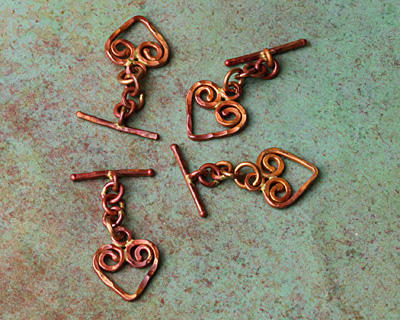 Patricia Healey Copper Small Hammered Heart Toggle Clasp 36x16mm, 21mm Bar
