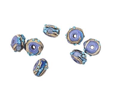 Grace Lampwork Blue Freestyle Rondelle 9x14mm
