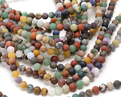 Matte Multi Gemstone (Sodalite, Tiger Eye, Red Jasper, Aventurine) Round 8mm