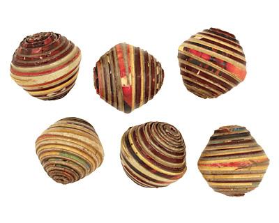 African Paper (beige, maroon, mustard) Bicone 24-25x26-27mm
