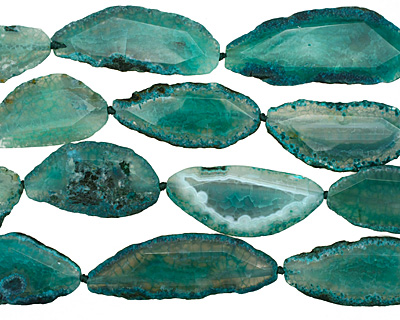 Sea Green Agate Natural Edge Freeform Faceted Slab 47-76x27-32mm