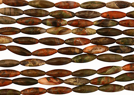 Red Forest Agate Rice 30x10mm