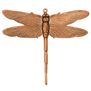 Stampt Antique Copper (plated) Emperor Dragonfly Pendant 50x43mm