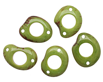 Tagua Nut Apple Open Slice Link 40-48x32-40mm