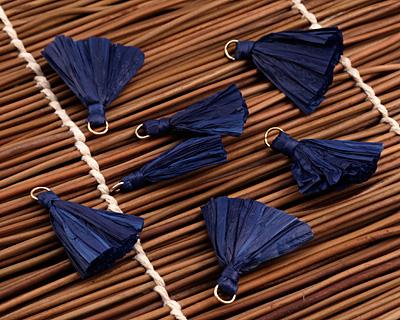 Navy Blue w/ Jump Ring Raffia Tassel 40mm